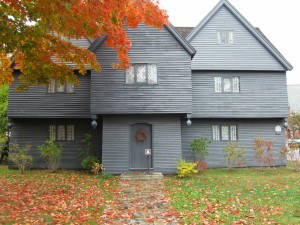 Front of the Salem Witch House. This building is the only structure remaining from the days of the Witch Trials.